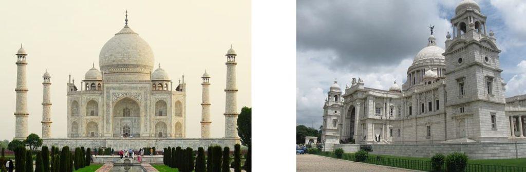 Tajmahal and Victoria memorial
