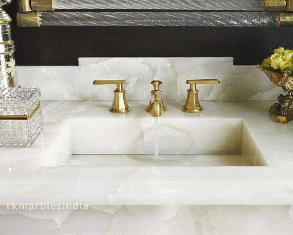 White Onyx Marble Crystal, Onyx Bathroom Countertops